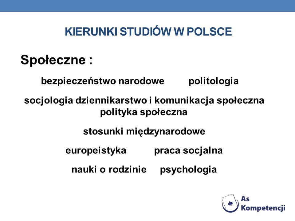 KIERUNKI STUDIÓW W POLSCE Społeczne : bezpieczeństwo narodowe politologia socjologia dziennikarstwo i komunikacja społeczna polityka społeczna stosunk