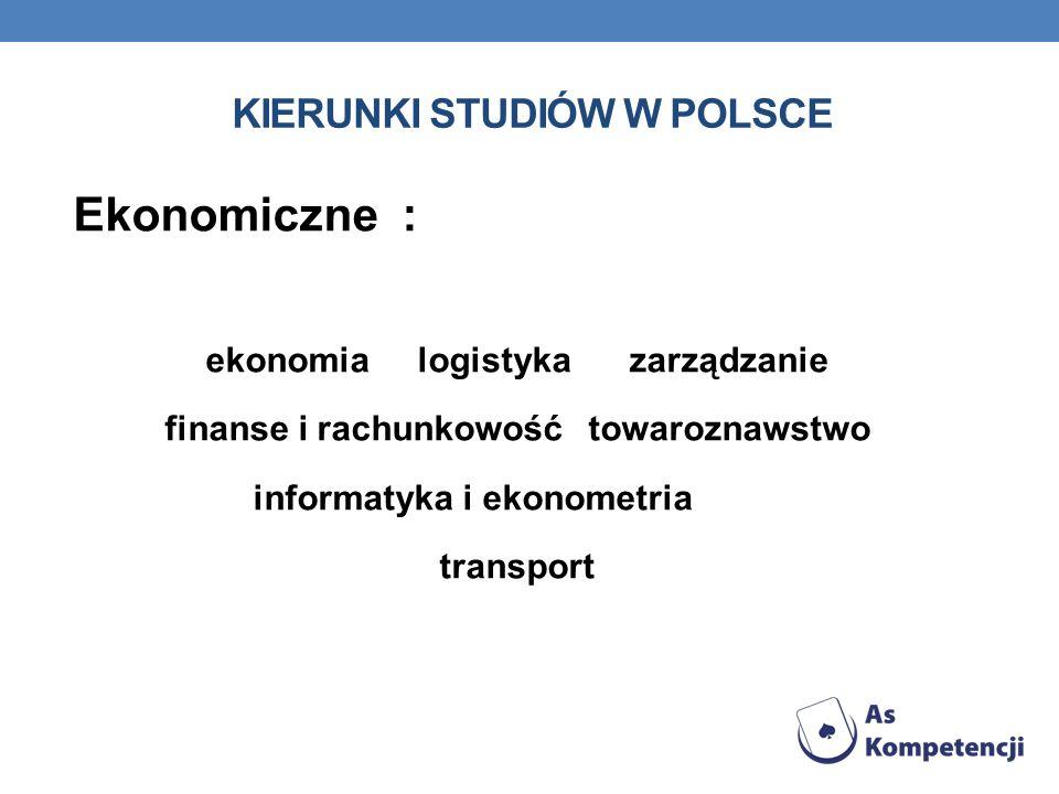 KIERUNKI STUDIÓW W POLSCE Ekonomiczne : ekonomia logistyka zarządzanie finanse i rachunkowość towaroznawstwo informatyka i ekonometria transport
