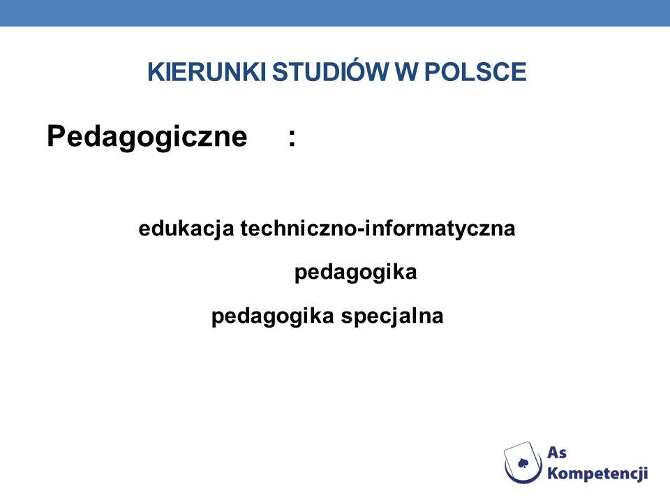 KIERUNKI STUDIÓW W POLSCE Pedagogiczne : edukacja techniczno-informatyczna pedagogika pedagogika specjalna