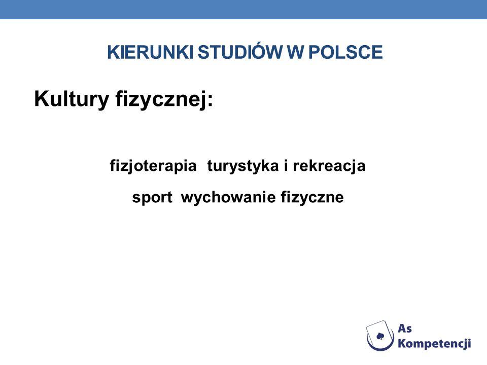 KIERUNKI STUDIÓW W POLSCE Kultury fizycznej: fizjoterapia turystyka i rekreacja sport wychowanie fizyczne