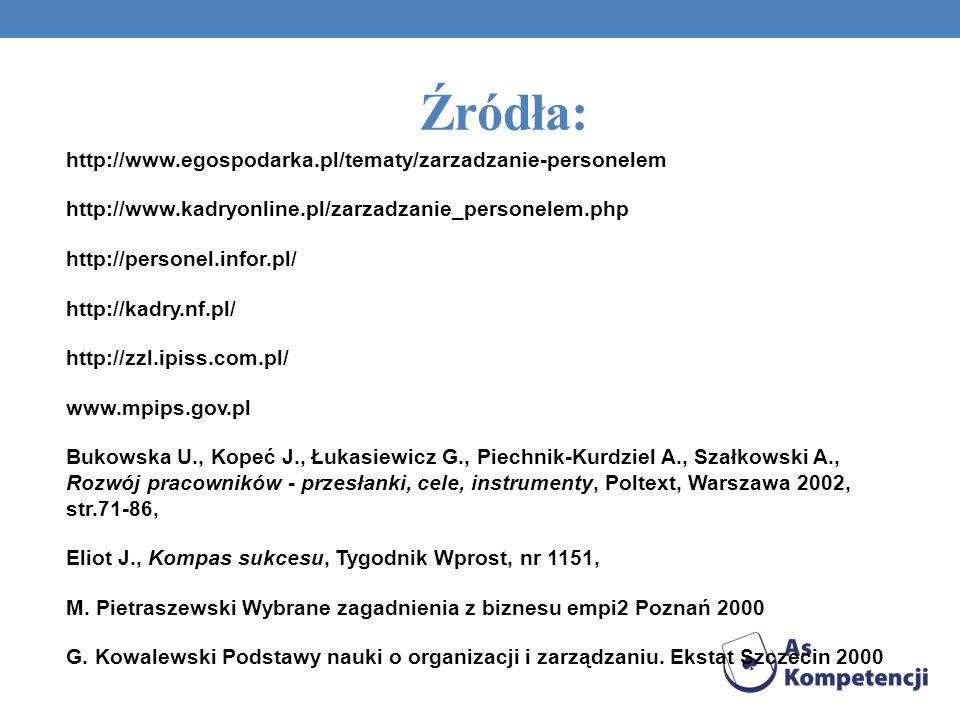 Źródła: http://www.egospodarka.pl/tematy/zarzadzanie-personelem http://www.kadryonline.pl/zarzadzanie_personelem.php http://personel.infor.pl/ http://