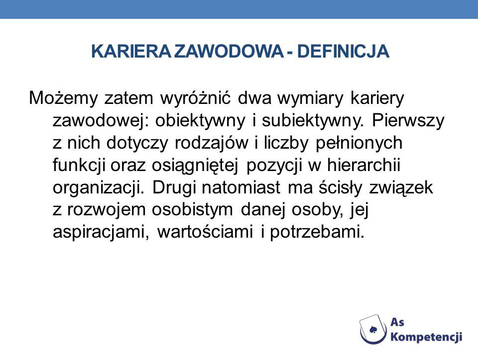 KARIERA ZAWODOWA - DEFINICJA Możemy zatem wyróżnić dwa wymiary kariery zawodowej: obiektywny i subiektywny. Pierwszy z nich dotyczy rodzajów i liczby