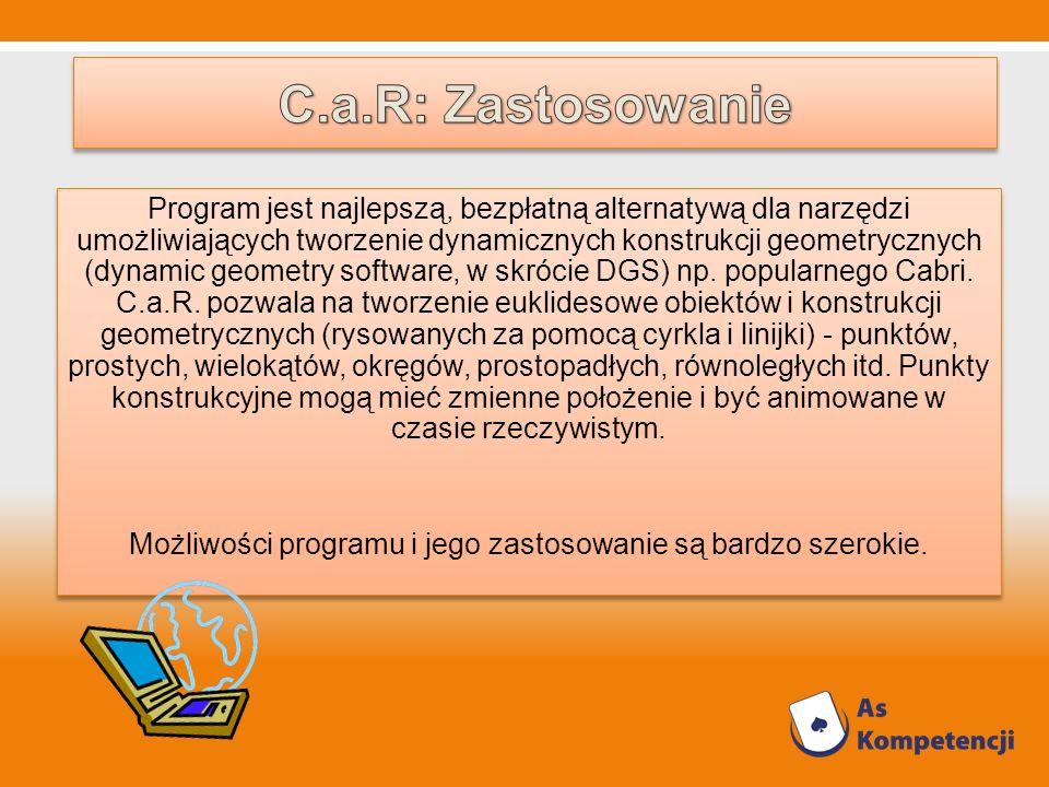 Program jest najlepszą, bezpłatną alternatywą dla narzędzi umożliwiających tworzenie dynamicznych konstrukcji geometrycznych (dynamic geometry softwar