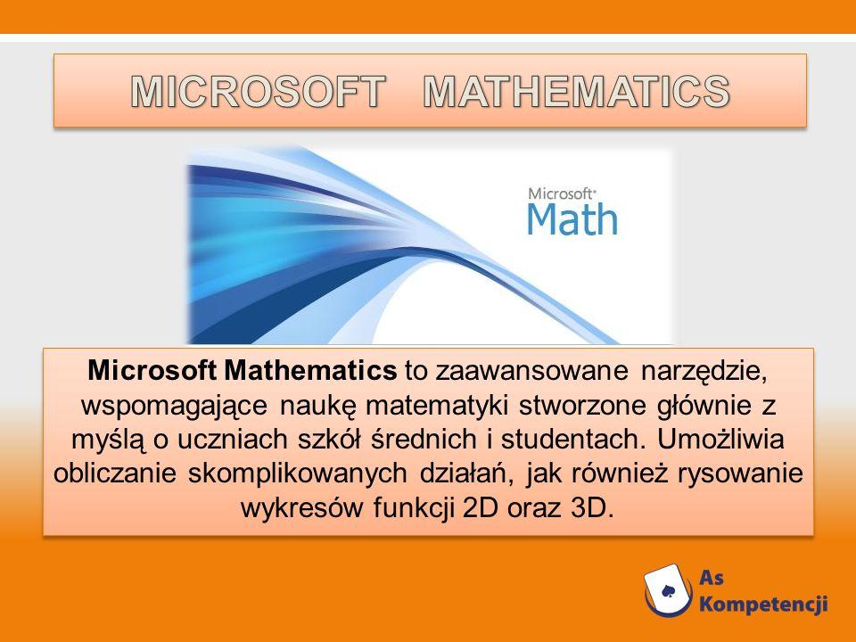Microsoft Mathematics to zaawansowane narzędzie, wspomagające naukę matematyki stworzone głównie z myślą o uczniach szkół średnich i studentach. Umożl