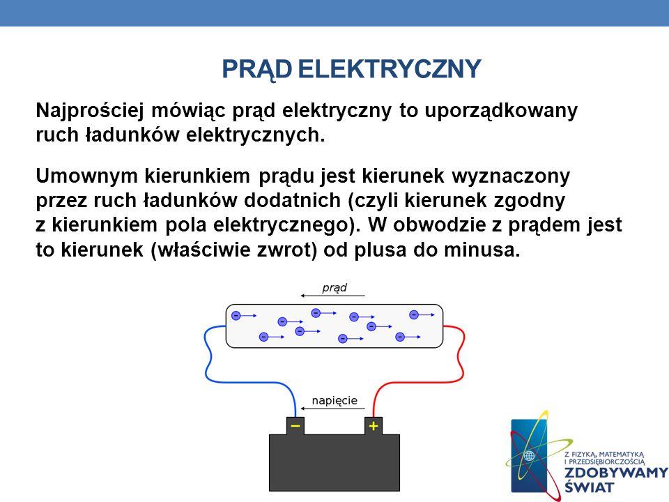 PRĄD ELEKTRYCZNY Najprościej mówiąc prąd elektryczny to uporządkowany ruch ładunków elektrycznych. Umownym kierunkiem prądu jest kierunek wyznaczony p