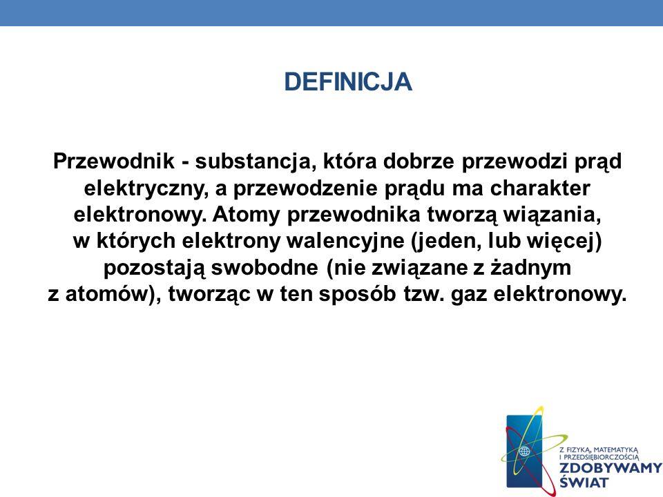 DEFINICJA Przewodnik - substancja, która dobrze przewodzi prąd elektryczny, a przewodzenie prądu ma charakter elektronowy. Atomy przewodnika tworzą wi