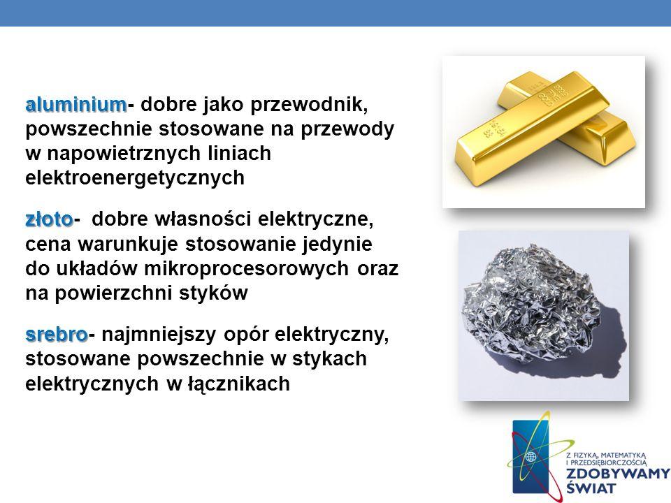 aluminium aluminium- dobre jako przewodnik, powszechnie stosowane na przewody w napowietrznych liniach elektroenergetycznych złoto złoto- dobre własno
