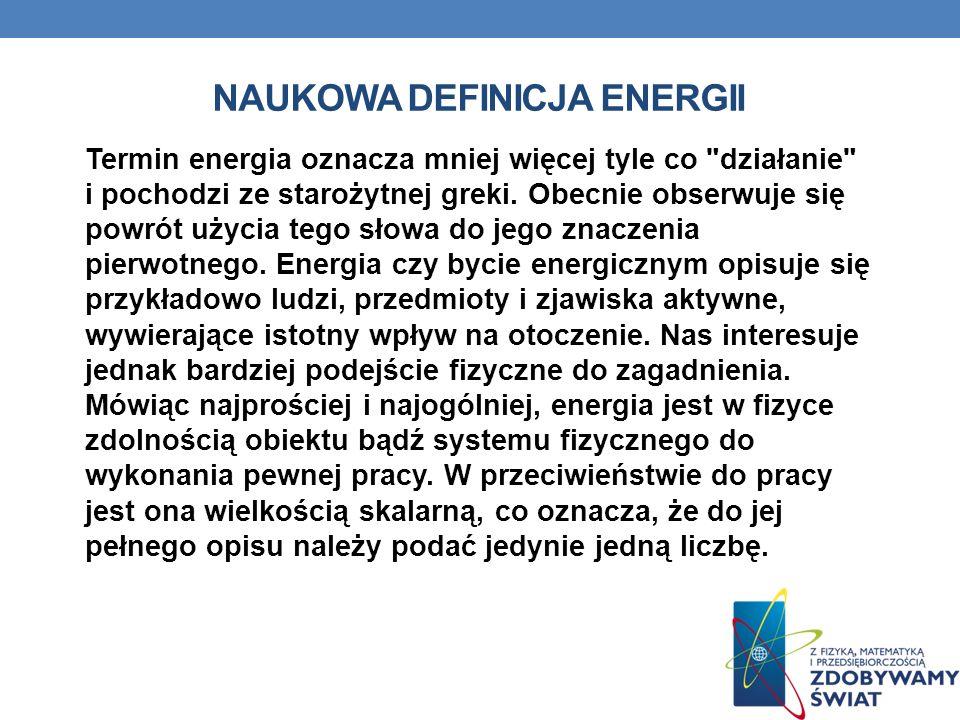 NAUKOWA DEFINICJA ENERGII Termin energia oznacza mniej więcej tyle co