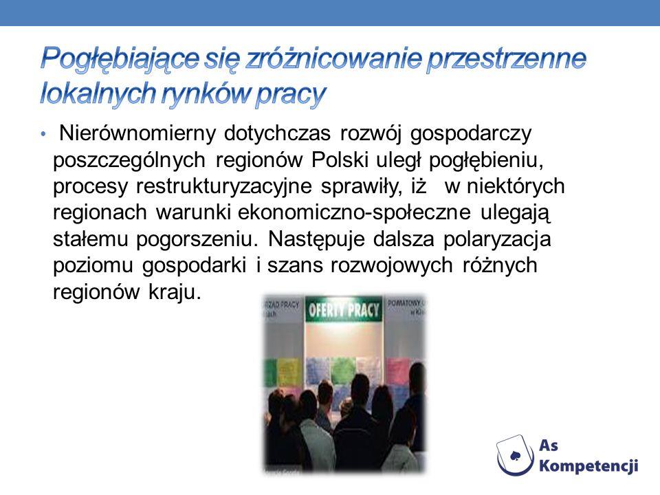 Nierównomierny dotychczas rozwój gospodarczy poszczególnych regionów Polski uległ pogłębieniu, procesy restrukturyzacyjne sprawiły, iż w niektórych regionach warunki ekonomiczno-społeczne ulegają stałemu pogorszeniu.
