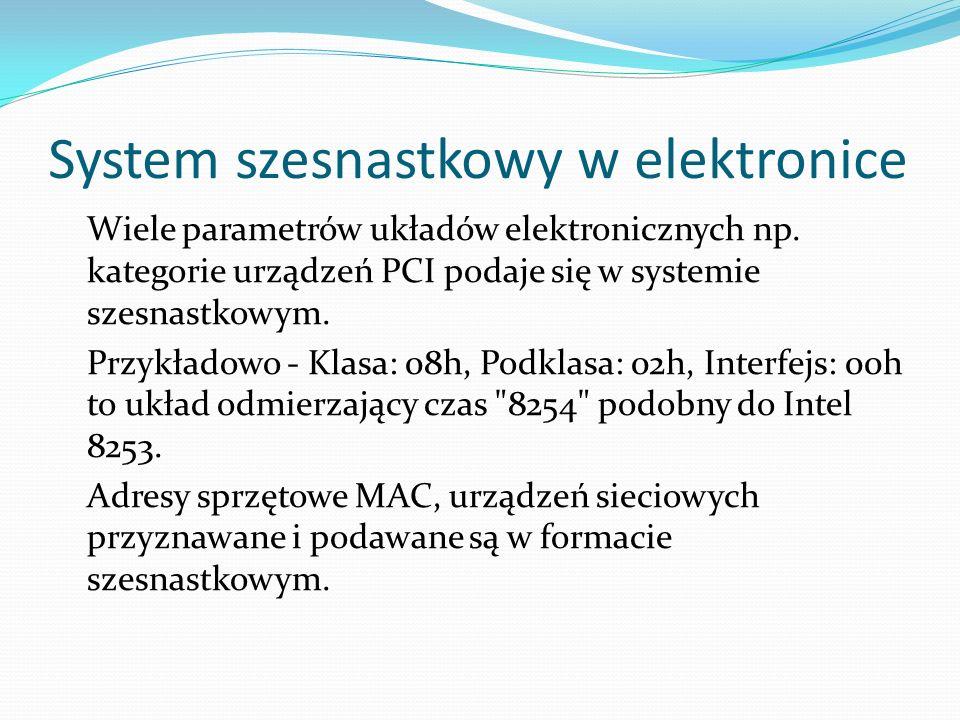 System szesnastkowy w elektronice Wiele parametrów układów elektronicznych np. kategorie urządzeń PCI podaje się w systemie szesnastkowym. Przykładowo