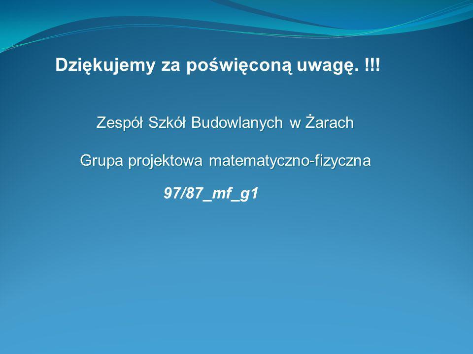 Zespół Szkół Budowlanych w Żarach Grupa projektowa matematyczno-fizyczna Dziękujemy za poświęconą uwagę. !!! 97/87_mf_g1