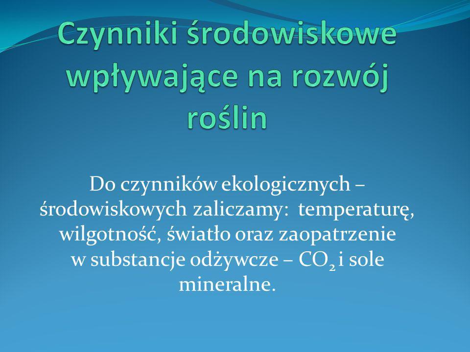 Do czynników ekologicznych – środowiskowych zaliczamy: temperaturę, wilgotność, światło oraz zaopatrzenie w substancje odżywcze – CO 2 i sole mineraln