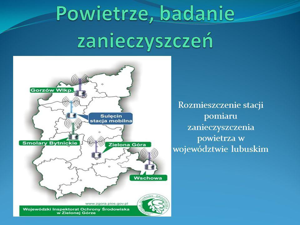 Rozmieszczenie stacji pomiaru zanieczyszczenia powietrza w województwie lubuskim