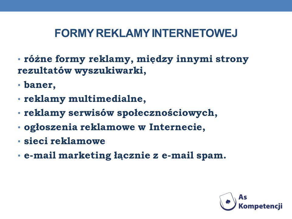 FORMY REKLAMY INTERNETOWEJ różne formy reklamy, między innymi strony rezultatów wyszukiwarki, baner, reklamy multimedialne, reklamy serwisów społeczno