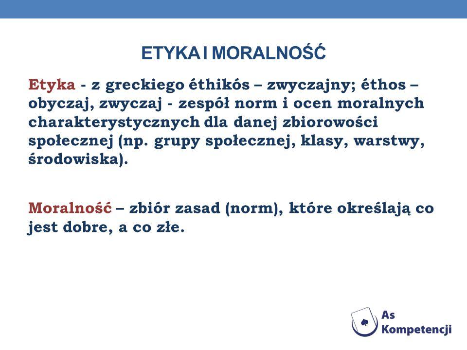 Etyka - z greckiego éthikós – zwyczajny; éthos – obyczaj, zwyczaj - zespół norm i ocen moralnych charakterystycznych dla danej zbiorowości społecznej