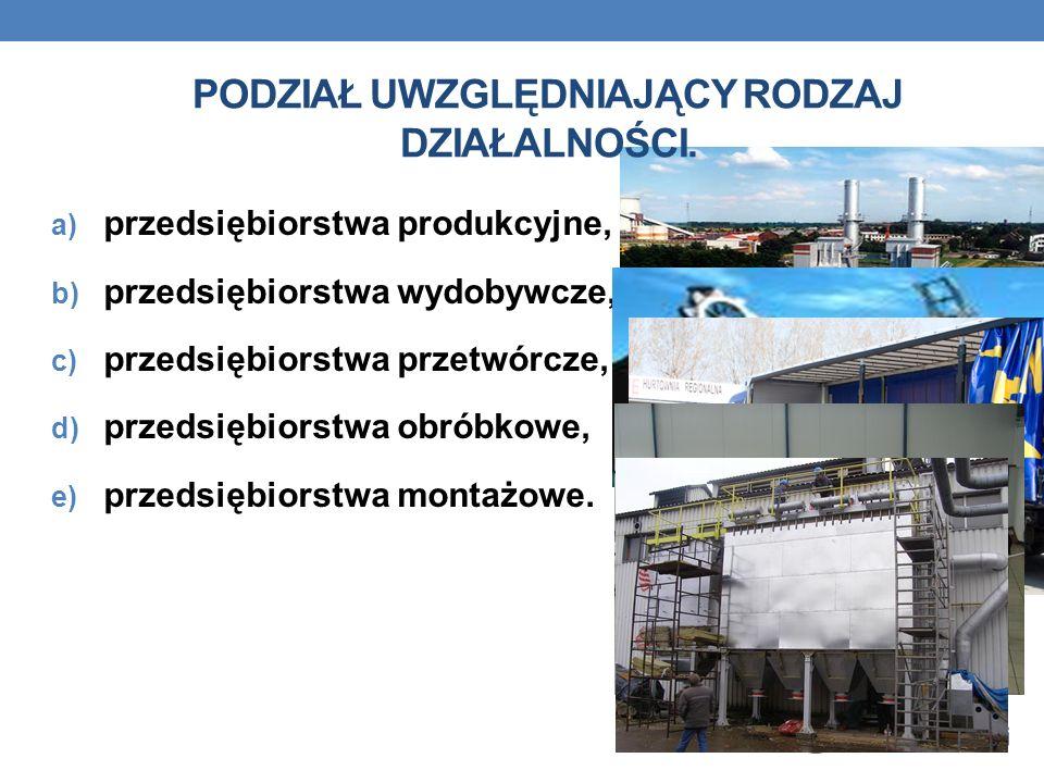 a) przedsiębiorstwa produkcyjne, b) przedsiębiorstwa wydobywcze, c) przedsiębiorstwa przetwórcze, d) przedsiębiorstwa obróbkowe, e) przedsiębiorstwa montażowe.