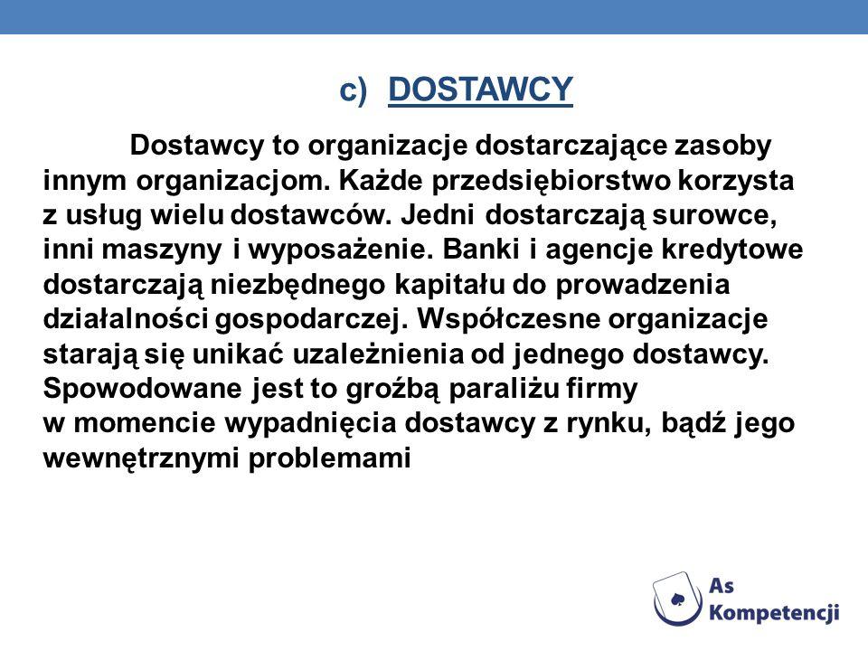 c)DOSTAWCY Dostawcy to organizacje dostarczające zasoby innym organizacjom.