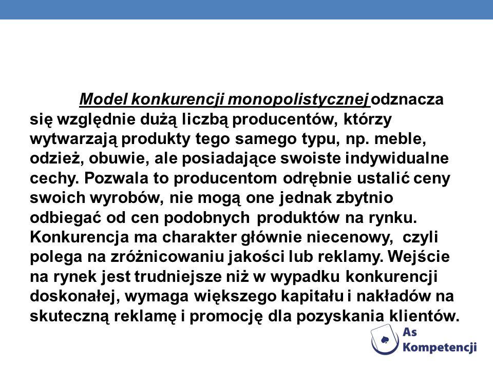 Model konkurencji monopolistycznej odznacza się względnie dużą liczbą producentów, którzy wytwarzają produkty tego samego typu, np.
