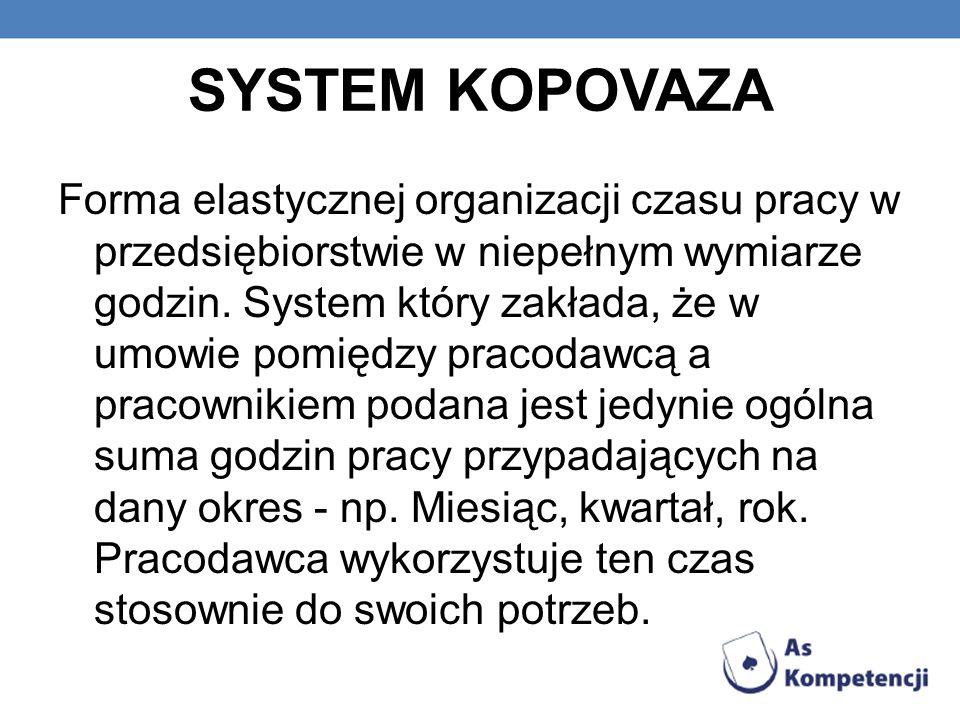 SYSTEM KOPOVAZA Forma elastycznej organizacji czasu pracy w przedsiębiorstwie w niepełnym wymiarze godzin. System który zakłada, że w umowie pomiędzy