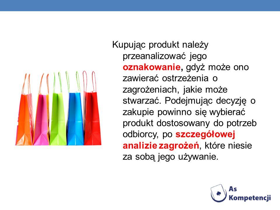 Kupując produkt należy przeanalizować jego oznakowanie, gdyż może ono zawierać ostrzeżenia o zagrożeniach, jakie może stwarzać. Podejmując decyzję o z