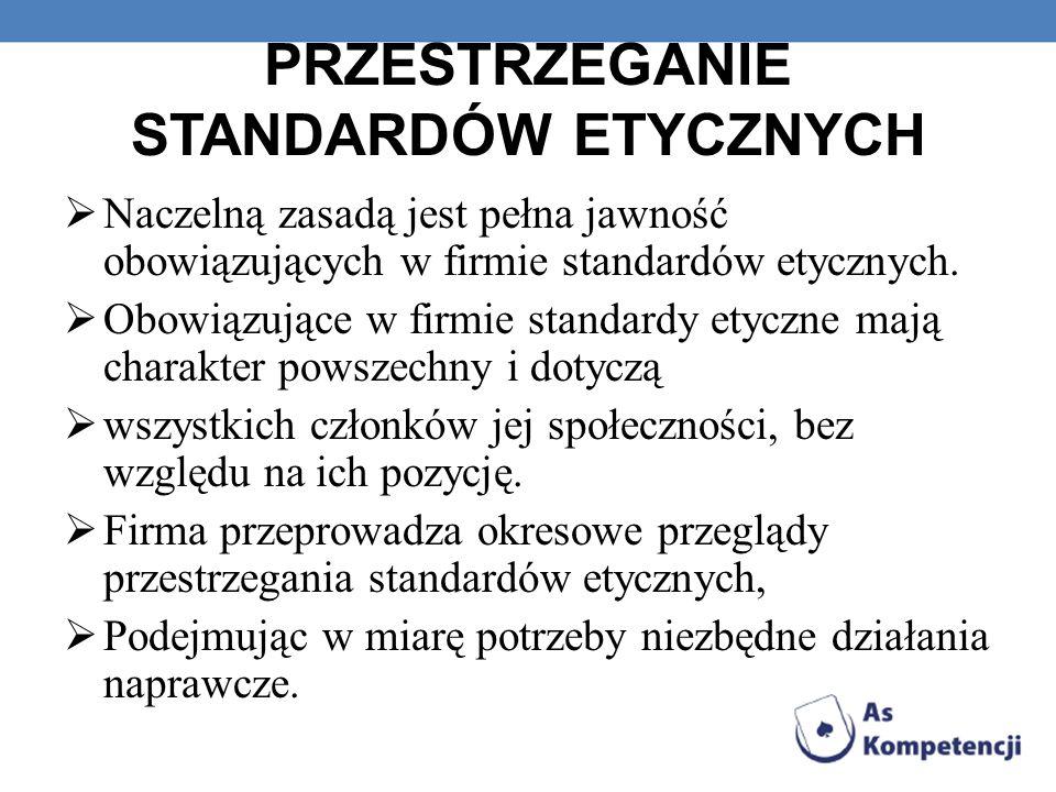 PRZESTRZEGANIE STANDARDÓW ETYCZNYCH Naczelną zasadą jest pełna jawność obowiązujących w firmie standardów etycznych. Obowiązujące w firmie standardy e