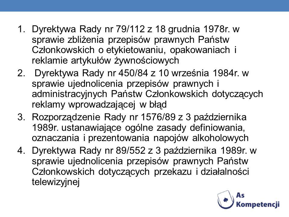 1.Dyrektywa Rady nr 79/112 z 18 grudnia 1978r. w sprawie zbliżenia przepisów prawnych Państw Członkowskich o etykietowaniu, opakowaniach i reklamie ar