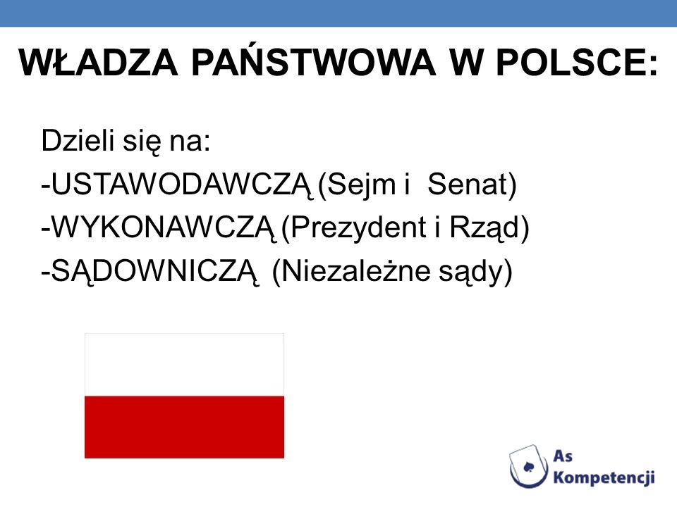 WŁADZA PAŃSTWOWA W POLSCE: Dzieli się na: -USTAWODAWCZĄ (Sejm i Senat) -WYKONAWCZĄ (Prezydent i Rząd) -SĄDOWNICZĄ (Niezależne sądy)
