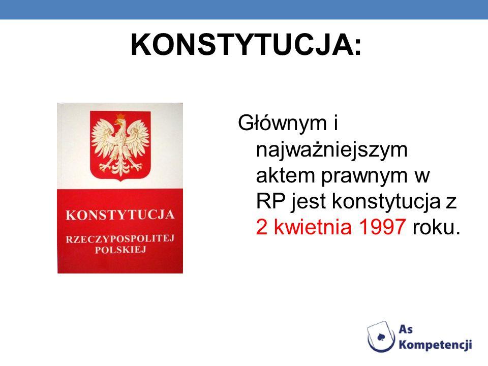 KONSTYTUCJA: Głównym i najważniejszym aktem prawnym w RP jest konstytucja z 2 kwietnia 1997 roku.