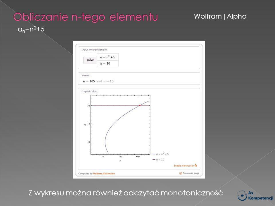 Wolfram|Alpha a n =n 2 +5 Z wykresu można również odczytać monotoniczność