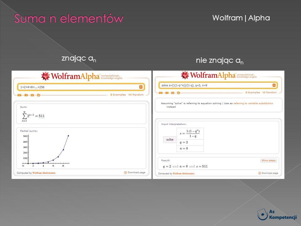 Wolfram|Alpha znając a n nie znając a n
