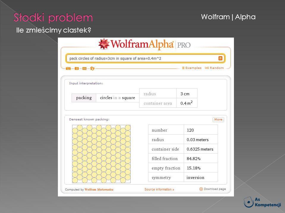 Wolfram|Alpha Ile zmieścimy ciastek?
