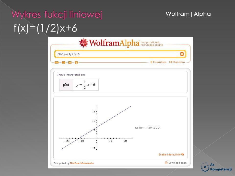Wolfram|Alpha f(x)=(1/2)x+6