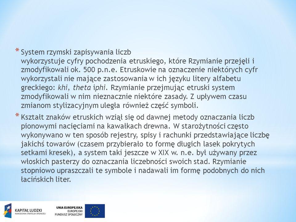 * System rzymski zapisywania liczb wykorzystuje cyfry pochodzenia etruskiego, które Rzymianie przejęli i zmodyfikowali ok. 500 p.n.e. Etruskowie na oz