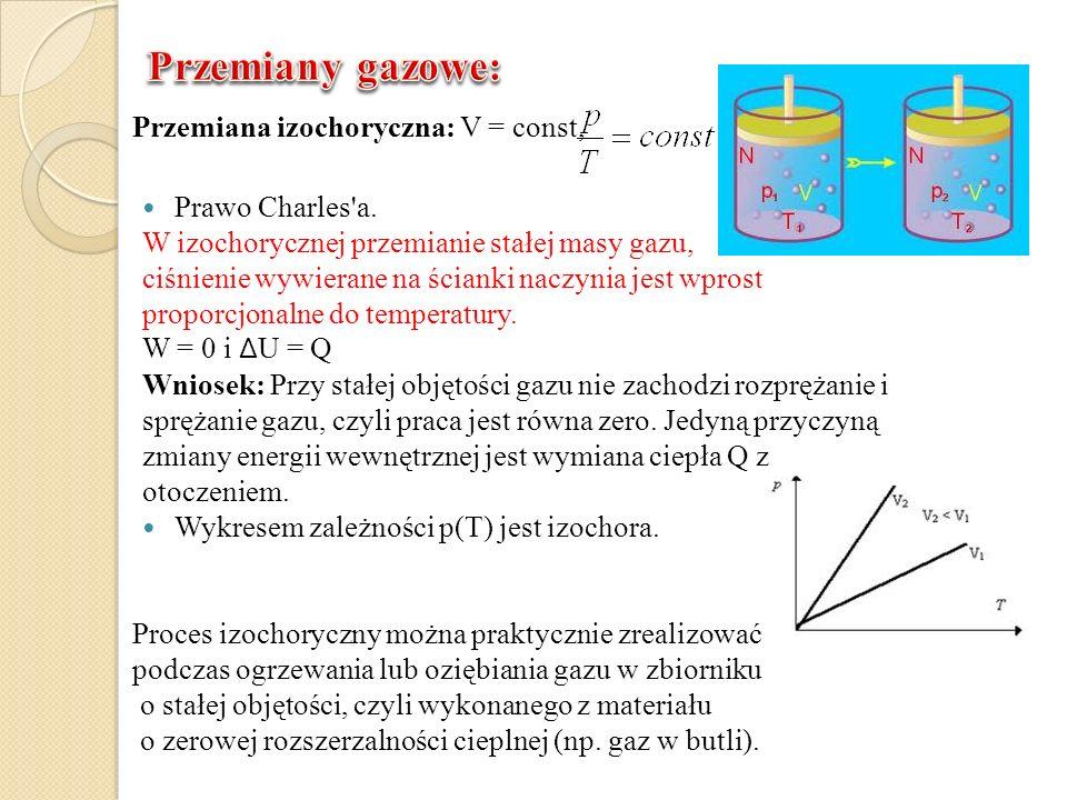 Przemiana izochoryczna: V = const, Prawo Charles'a. W izochorycznej przemianie stałej masy gazu, ciśnienie wywierane na ścianki naczynia jest wprost p