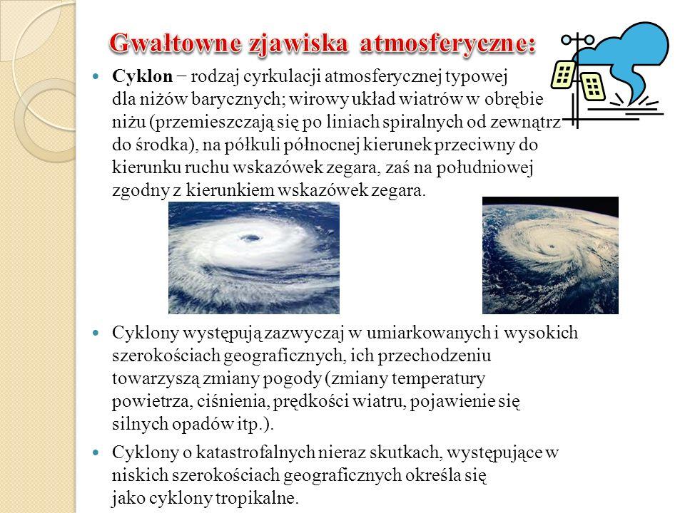 Cyklon rodzaj cyrkulacji atmosferycznej typowej dla niżów barycznych; wirowy układ wiatrów w obrębie niżu (przemieszczają się po liniach spiralnych od