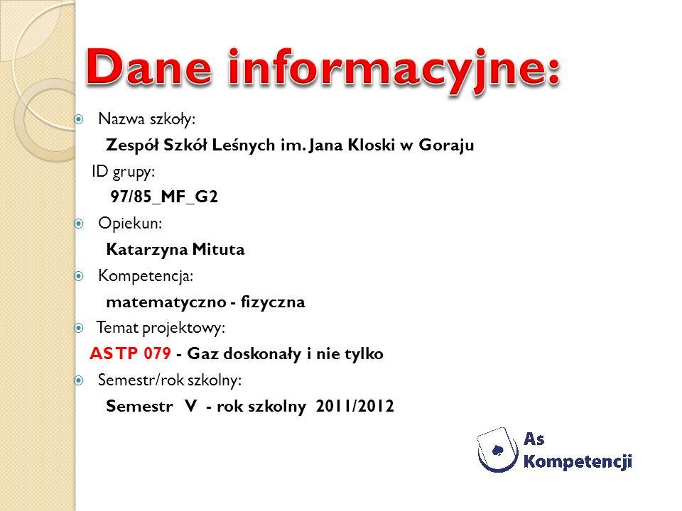 Nazwa szkoły: Zespół Szkół Leśnych im. Jana Kloski w Goraju ID grupy: 97/85_MF_G2 Opiekun: Katarzyna Mituta Kompetencja: matematyczno - fizyczna Temat