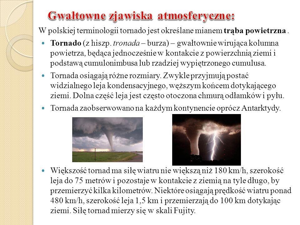 W polskiej terminologii tornado jest określane mianem trąba powietrzna. Tornado (z hiszp. tronada – burza) – gwałtownie wirująca kolumna powietrza, bę