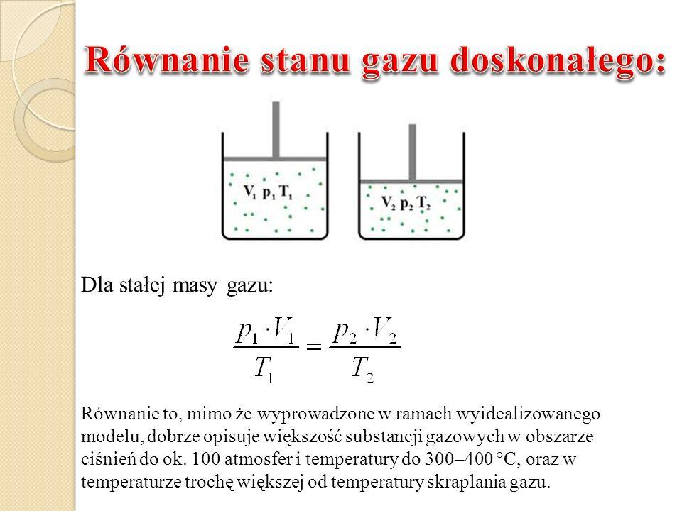 Dla stałej masy gazu: Równanie to, mimo że wyprowadzone w ramach wyidealizowanego modelu, dobrze opisuje większość substancji gazowych w obszarze ciśn