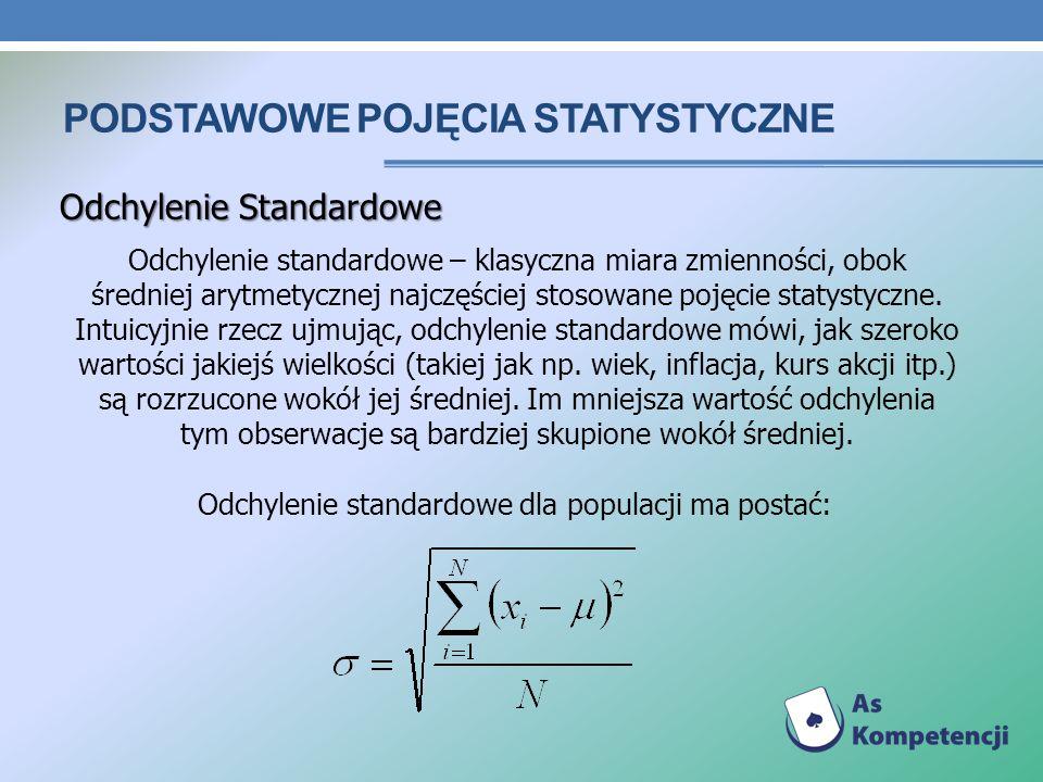 PODSTAWOWE POJĘCIA STATYSTYCZNE Odchylenie Standardowe Odchylenie standardowe – klasyczna miara zmienności, obok średniej arytmetycznej najczęściej st