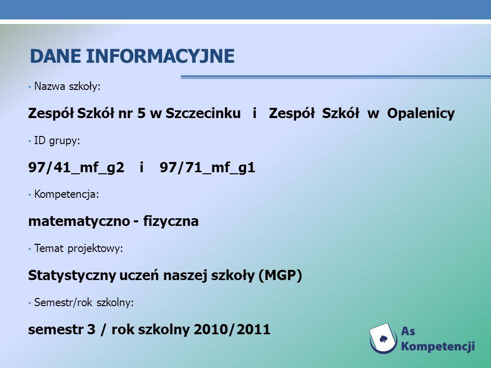 DANE INFORMACYJNE Nazwa szkoły: Zespół Szkół nr 5 w Szczecinku i Zespół Szkół w Opalenicy ID grupy: 97/41_mf_g2 i 97/71_mf_g1 Kompetencja: matematyczn