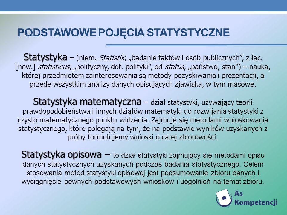 PODSTAWOWE POJĘCIA STATYSTYCZNE Statystyka Statystyka – (niem. Statistik, badanie faktów i osób publicznych, z łac. [now.] statisticus, polityczny, do