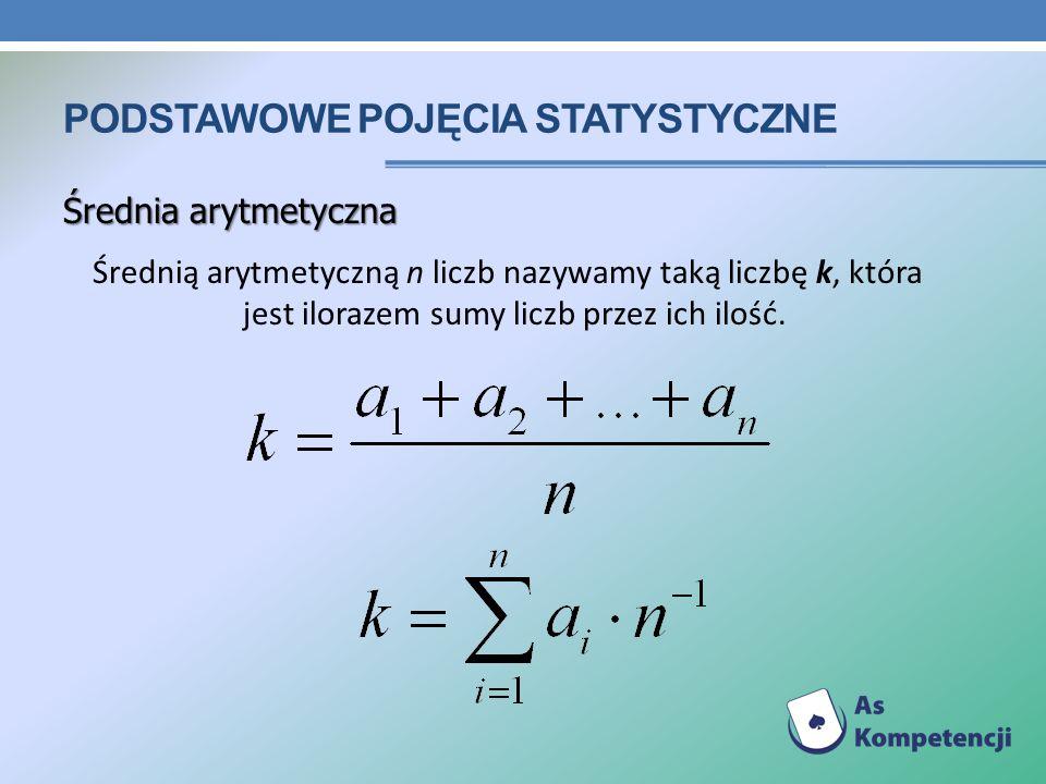 PODSTAWOWE POJĘCIA STATYSTYCZNE Średnia arytmetyczna Średnią arytmetyczną n liczb nazywamy taką liczbę k, która jest ilorazem sumy liczb przez ich ilo