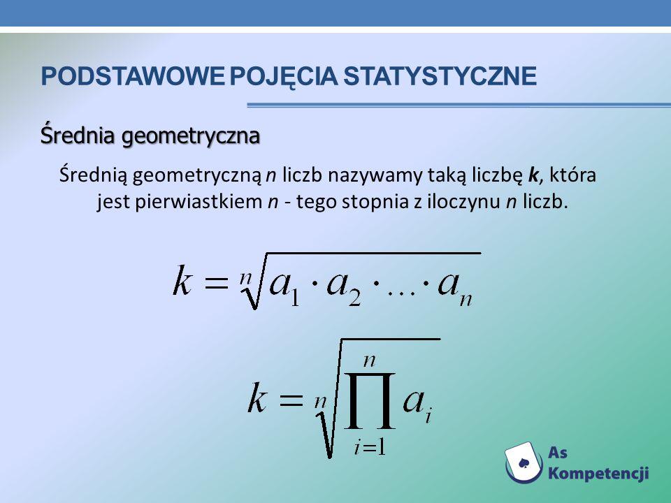 PODSTAWOWE POJĘCIA STATYSTYCZNE Średnia geometryczna Średnią geometryczną n liczb nazywamy taką liczbę k, która jest pierwiastkiem n - tego stopnia z