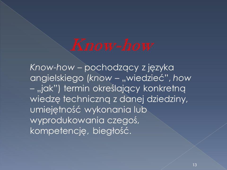 Know-how Know-how – pochodzący z języka angielskiego (know – wiedzieć, how – jak) termin określający konkretną wiedzę techniczną z danej dziedziny, um