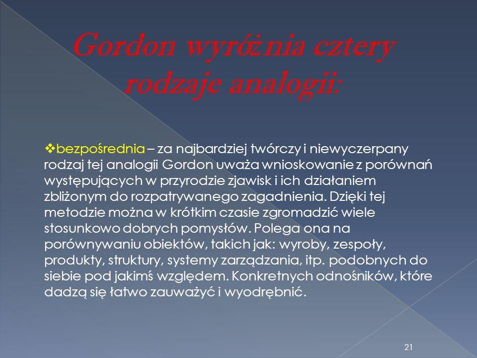 Gordon wyró ż nia cztery rodzaje analogii: bezpośrednia – za najbardziej twórczy i niewyczerpany rodzaj tej analogii Gordon uważa wnioskowanie z porów
