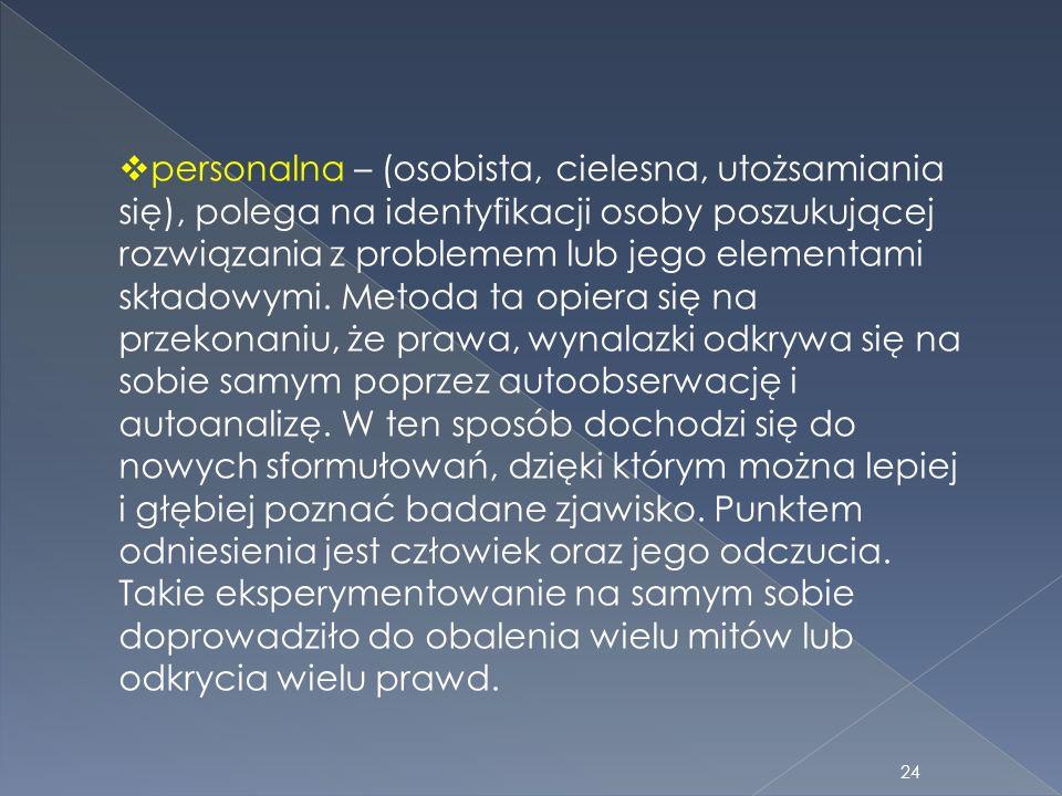 personalna – (osobista, cielesna, utożsamiania się), polega na identyfikacji osoby poszukującej rozwiązania z problemem lub jego elementami składowymi