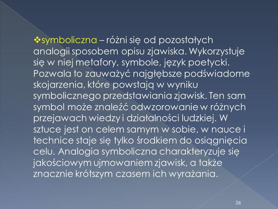 symboliczna – różni się od pozostałych analogii sposobem opisu zjawiska. Wykorzystuje się w niej metafory, symbole, język poetycki. Pozwala to zauważy