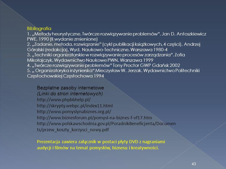 Bibliografia 1. Metody heurystyczne. Twórcze rozwiązywanie problemów. Jan D. Antoszkiewicz PWE, 1990 (II wydanie zmienione) 2. Zadanie, metoda, rozwią