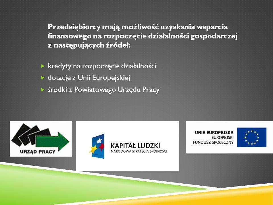 Przedsiębiorcy mają możliwość uzyskania wsparcia finansowego na rozpoczęcie działalności gospodarczej z następujących źródeł: kredyty na rozpoczęcie działalności dotacje z Unii Europejskiej środki z Powiatowego Urzędu Pracy