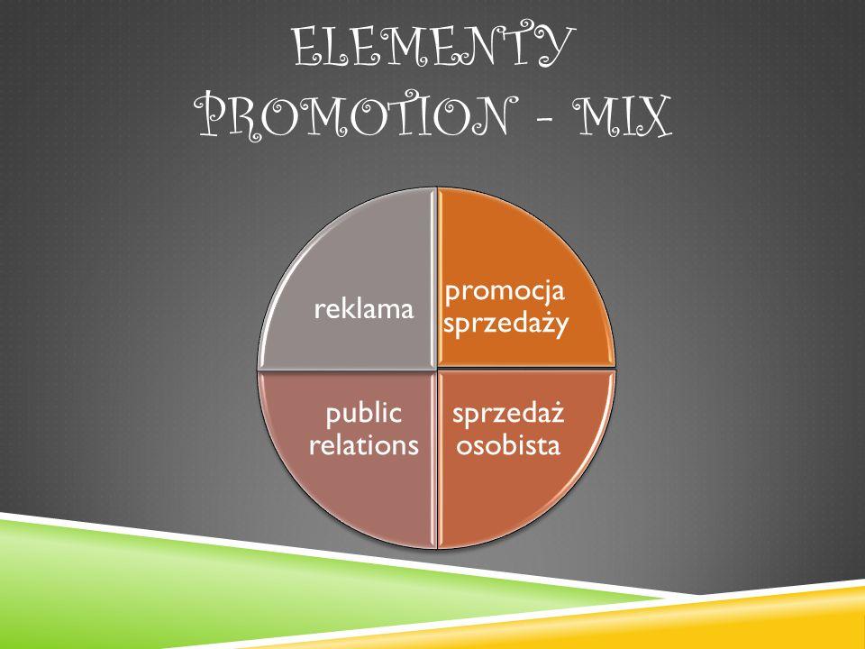 ELEMENTY PROMOTION - MIX promocja sprzedaży sprzedaż osobista public relations reklama